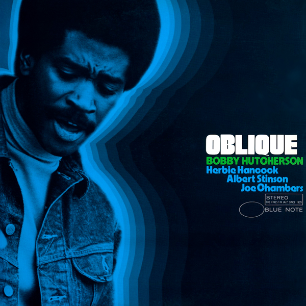 The sleeve for Bobby Hutcherson's jazz stone tablet Oblique